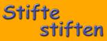 """""""Stifte stiften""""-Logo Schrift auf Orange für Presse und Blog"""