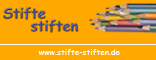 """""""Stifte stiften""""-Logo Schrift und Stifte auf Orange mit Unterzeile Site-Name für Presse und Blog"""