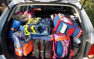 Gespendete Schultaschen und Schulranzen aus Weilheim