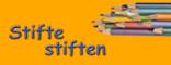 """""""Stifte stiften""""-Logo Schrift und Stifte auf Orange für Presse und Blog"""