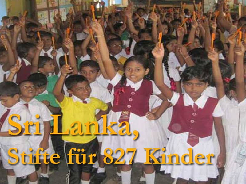 Stifte für 827 Kinder in Sri Lanka