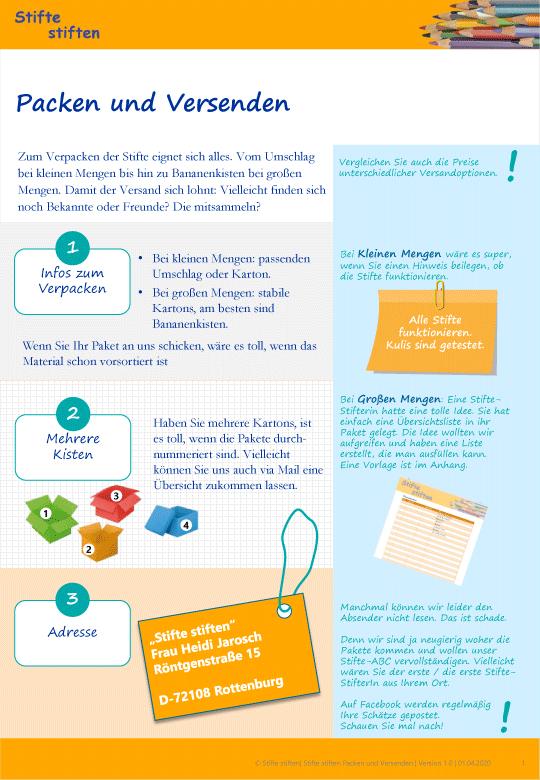 Wie Ihr Euer Stifte-Paket packen und versenden könnt